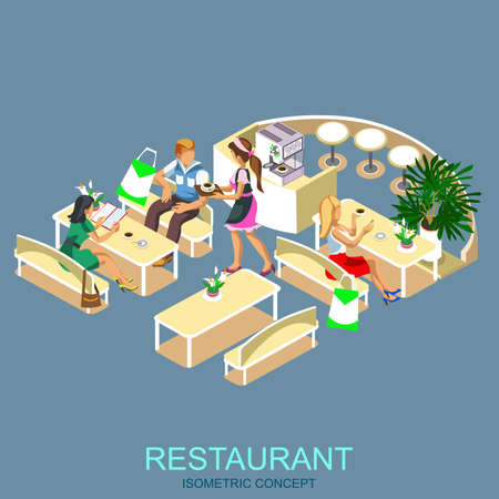 Restaurant interiors. Kitchen, dining room and street cafe. Modern isometric flat icon for web banners, web sites, printed materials, infographics.