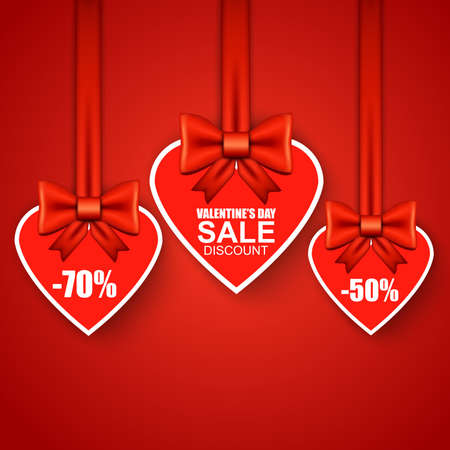 sale tag: Valentines day heart sale tag, poster template. Red heart whith bow. Vector illustration. Illustration
