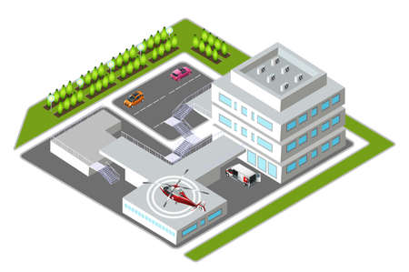 healthcare workers: Isometric medical center vector illustration. Hospital building and transport. Cartoon character. Healthcare, medicine, professional workers, first aid patients. Medical helicopter.