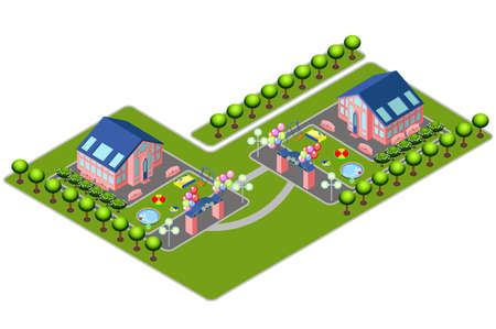 Vector isometric country house with children playgrounds design template on white background. Modern flat icon for web banners, web sites, printed materials, infographics. Illustration