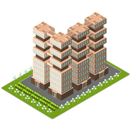 cantieri edili: Vector isometric skyscraper for city map creation design template on white background. Business office building. Modern flat icon for web banners, web sites, printed materials, infographics.