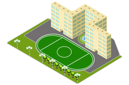 secondary: Isometric multistory building school or university. Education, staff training, learning, knowledge, sports ground. Modern flat icon for web banners, web sites, printed materials, infographics. Illustration
