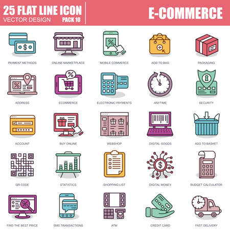 Thin line web shopping and e-commerce icons set for website and mobile site and apps. Pixel Perfect. Editable Stroke. Simple linear pictogram pack. Vector illustration.
