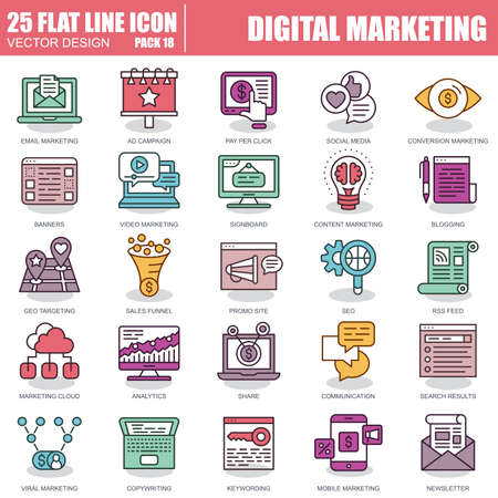 Thin line digital marketing icons set for website and mobile site and apps. Pixel Perfect. Editable Stroke. Simple linear pictogram pack. Vector illustration. Ilustrace