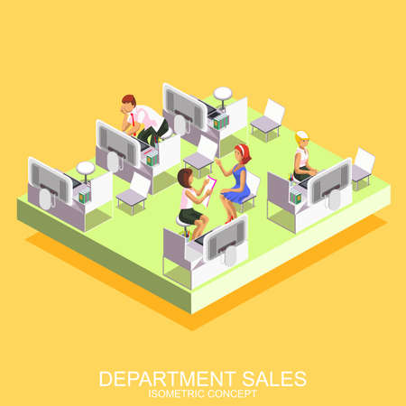sales manager: Isometric flat concept of sales department and manager, conducting and concluding a contract with clients, suppliers and customers, preparing reports. Marketing and market research.
