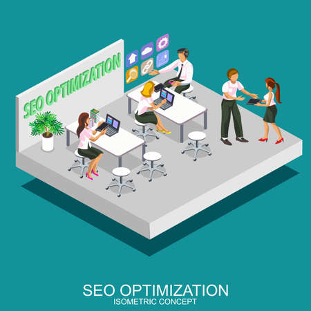 internet search: Isometric flat concept for department seo optimization, programming process and web analytics elements. Search engine optimization and web developing. Internet technologies. Vector illustration. Illustration