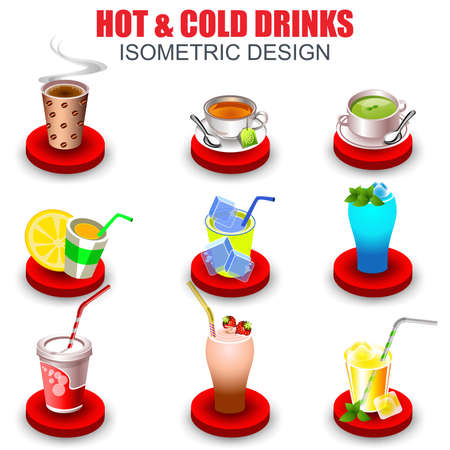 cold drinks: Set of isometric icons hot and cold drinks cartoon, non-alcoholic beverages, herbal tea, hot chocolate, latte, cocktail, coffee, smoothie, juice, milk shake, lemonade and sodas. Vector illustration.
