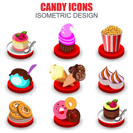 eclair: Set of beautiful flat isometric various desserts icons vector design template. Can be used street cafe, bar, restaurant, poster, banner, flyer, magazine, website, web design.
