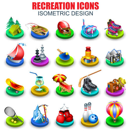 Set of recreation and entertainment realistic isometric icons vector design template. Can be used for travel agencies, holidays offer, for website and mobile site and apps, poster, banner, mazagine.