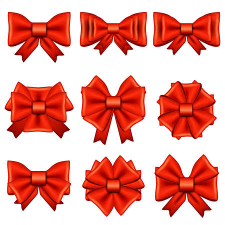 bowknot: Set of different red bows isolated on white background. Bright bowknot. Decoration for gift card, brochure, flyer, mazagine, holiday, websites, box, poster, web design. Vector cartoon illustration.