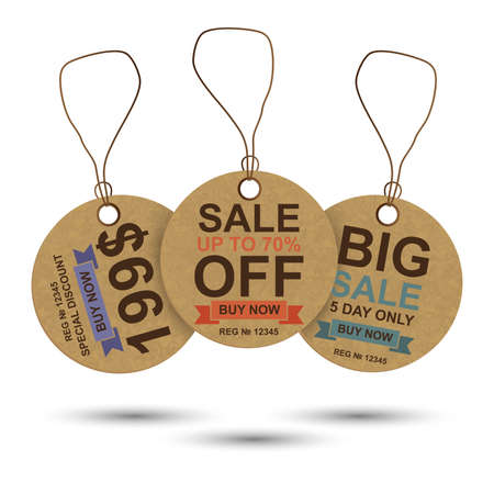 Realistic cardboard sale tag vector design template. Can be used for e-commerce, shopping, sticker, banner, label, shop, best offer, special discount, purchased, web design and printed materials.