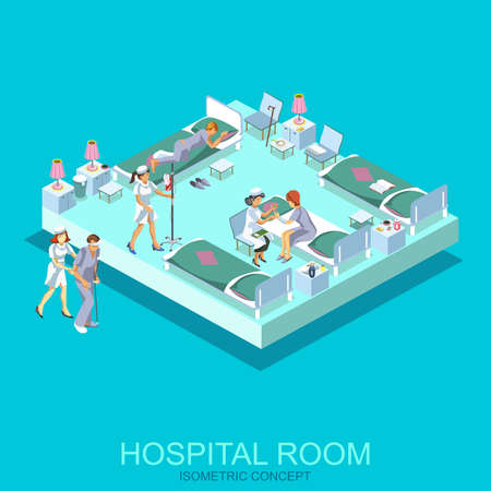 Isometric flat medical room for patients, first aid kit concept web infographics vector illustration. Micro hospital ambulance diagnosis icon. Hospital equipment and furniture. Creative people.
