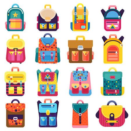 Flache Schulrucksäcke liefert Icons. Ausbildung und Studium zurück zur Schule, Schulgepäck, Rucksack. Vektor-illustration