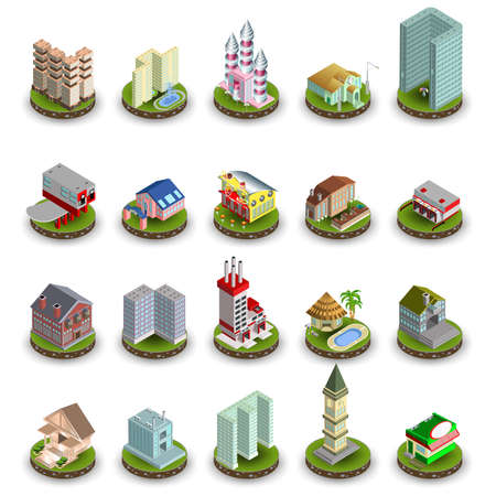 city center: Isometric flat city center, landscapes icons vector design template. Different buildings: university, school, skyscrapers, business center, hospital, cottage town, industrial plant.