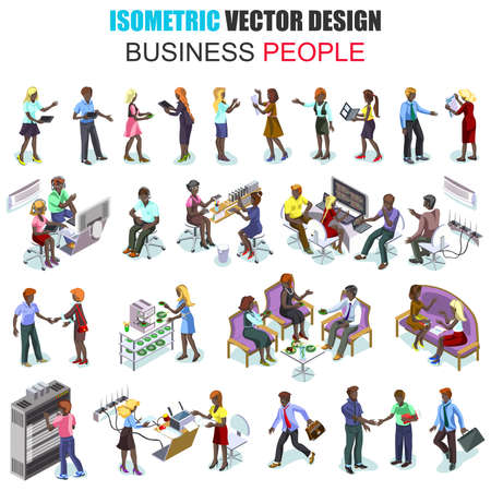 african descent: Isometric african descent business people employees isolated. Businessman, businesswoman, recruitment process. Set with flat males and females in office suits. Cartoon character vector. Illustration