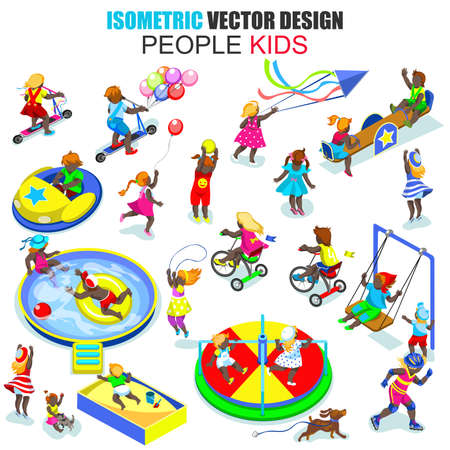 african descent: Isometric african descent young joyful kids people vector illustration. Flat children playing in entertainment area. Cartoon character. Creative people collection.