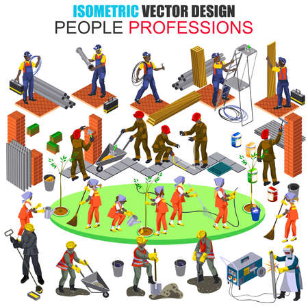 arquitecto caricatura: Isometric african descent professional builder construction workers people isolated. Architect, engineer,. Set with flat males and females. Cartoon character vector. Vector illustration.