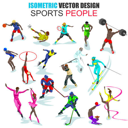 african descent: Isometric african descent professional sportsman people vector illustration. Different sports. Set with flat males and females. Cartoon character. Creative people collection.