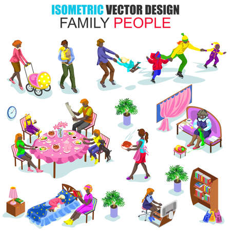people  male: Isometric african descent family people vector illustration. Flat young joyful parents micro male female group parenting mother father dad mom. Cartoon character. Creative people collection.