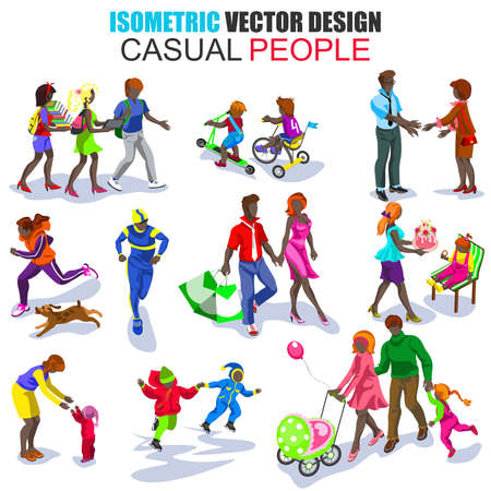 people: Isometric african descent casual people high quality icon set. Flat business people, casual, teens, couples, family, children. Set with males and females. Cartoon character. Vector illustration. Illustration