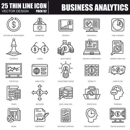 Affaires de ligne mince et les icônes de marketing définies pour site Web et site mobile et applications. Pixel-parfait. AVC modifiable. Pack de pictogrammes linéaire simple. Illustration vectorielle