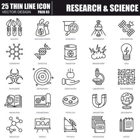 Thin line research and science icons set for website and mobile site and apps. Pixel Perfect. Editable Stroke. Simple linear pictogram pack. Vector illustration. Vectores