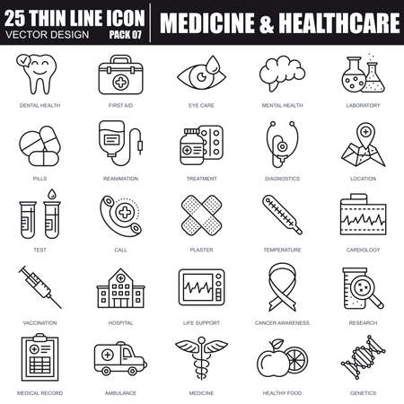 Thin line soins de santé et médecine, services hospitaliers, les icônes d'analyses de laboratoire définies pour les sites et les sites et les sites mobiles. Pixel-parfait. Course modifiable. Pack de pictogramme linéaire simple. Illustration vectorielle. Vecteurs