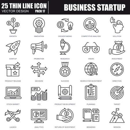 Les icônes de démarrage des entreprises de ligne fine sont définies pour le site Web et le site mobile et les applications. Pixel-parfait. Course modifiable. Pack de pictogramme linéaire simple. Illustration vectorielle.