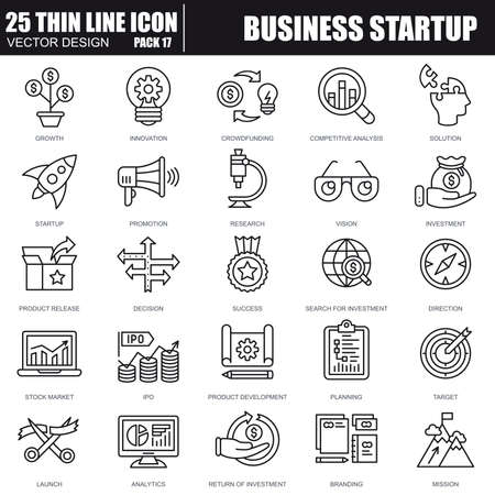 Thin line business opstarten iconen voor website en mobiele site en apps. Pixel Perfect. Bewerkbare Stroke. Eenvoudige lineaire pictogram verpakking. Vector illustratie.