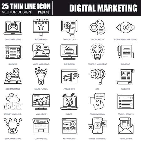 Cienka linia ikon marketingu cyfrowego dla witryny i witryny mobilnej oraz aplikacji. Idealny piksel. Obrys edytowalny. Pakiet prostych piktogramów liniowych. Ilustracja wektorowa. Ilustracje wektorowe
