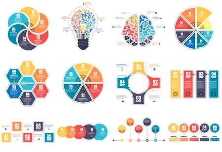 Modèle de conception de vecteur de visualisation de données d'éléments d'infographie. Concept d'affaires avec 4, 5, 6 et 8 options, étapes ou processus, disposition du flux de travail, diagramme, chronologie, icônes de marketing, graphiques d'informations.