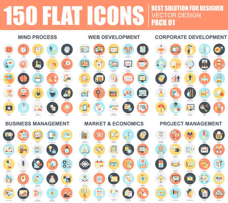 Flat mind process, web and corporate development, business and project management, market and economics icons set for website and mobile site and apps. Simple pictogram pack. Vector illustration.