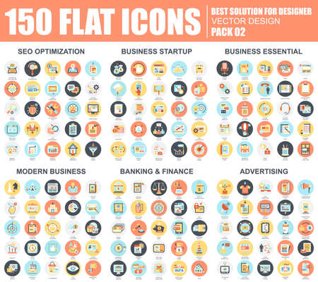Flat seo optimization, business startup and essential, advertising, banking and finance icons set for website and mobile site and apps. Simple pictogram pack. Vector illustration.