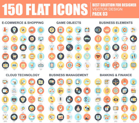 Flat e-commerce and shopping, business elements, cloud technology, management, banking and finance icons set for website and mobile site and apps. Simple pictogram pack. Vector illustration.