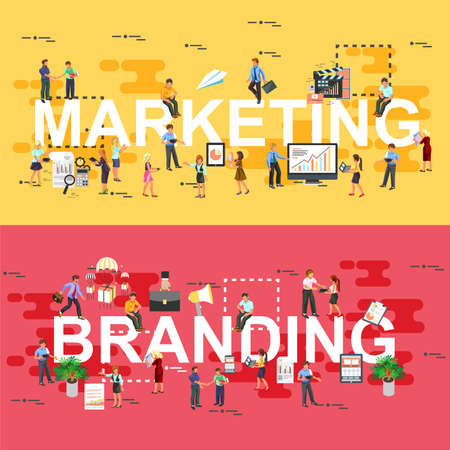 shopping people: Set of modern vector illustration concepts of marketing and branding. Line flat design banners for website and mobile website. Isometric creative people, technical staff. Illustration