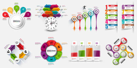 Infographic elements data visualization vector design template. Business concept with 4, 5, 8 and 10 options, steps or processes, workflow layout, diagram, timeline, marketing icons, info graphics.
