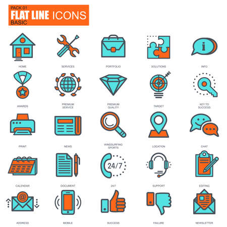 mobile website: Flat line basic icons set for website and mobile site and apps. Pixel Perfect. Illustration