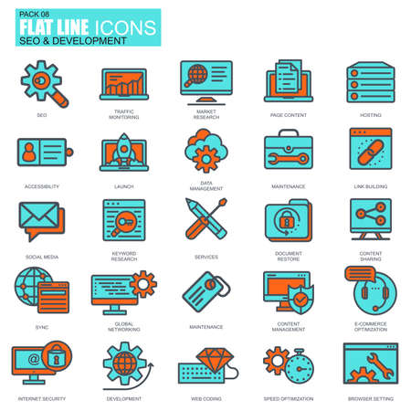 mobile website: Flat line seo and development icons set for website and mobile site and apps.