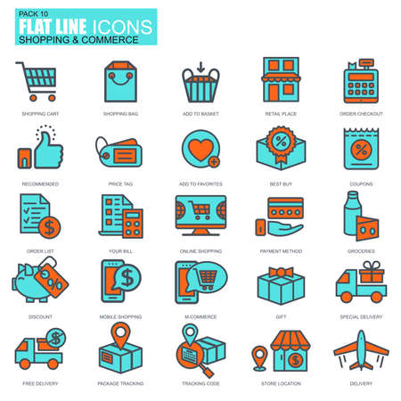 mobile website: Flat line online shopping and e-commerce icons set for website and mobile site and apps. Illustration