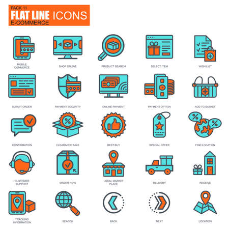 web shopping: Flat line web shopping and e-commerce icons set for website and mobile site and apps. Illustration