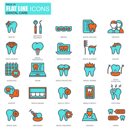 Flat line dental care, dentistry equipment, hygiene icons set for website and mobile site and apps. Pixel Perfect. Editable Stroke. Conceptual simple linear pictogram pack. Vector illustration. Illustration