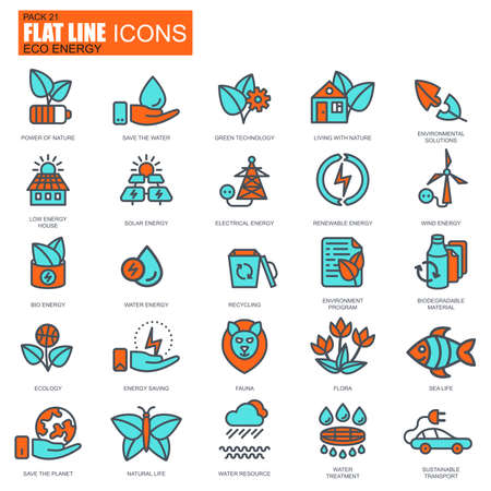 flora fauna: Flat line environment, renewable energy technology icons set for website and mobile site apps. Pixel Perfect. Editable Stroke. Conceptual simple linear pictogram pack. Vector illustration.