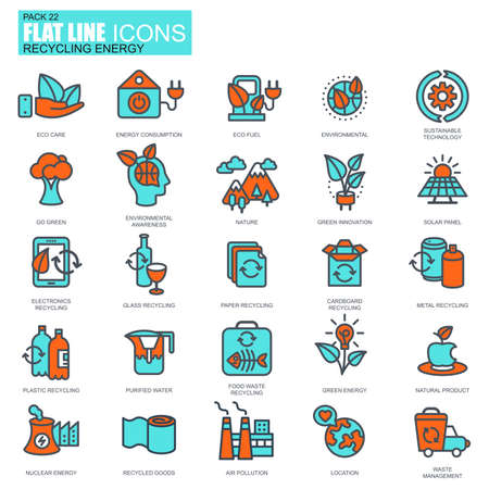 eco icons: Flat line recycling, environmental protection, eco care icons set for website and mobile site apps. Pixel Perfect. Editable Stroke. Conceptual simple linear pictogram pack. Vector illustration.