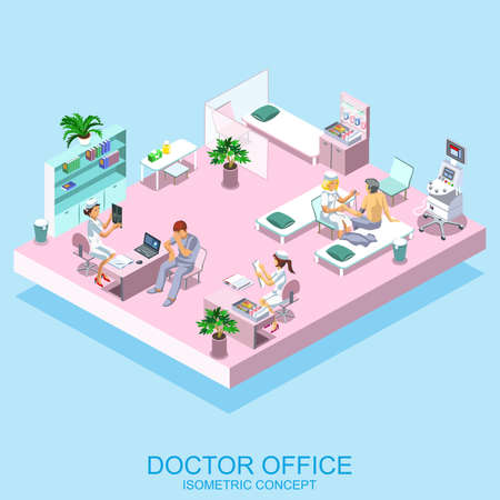 medical scanner: Healthcare and clinics flat isometric banners medical services vector illustration. Hospital equipment and furniture. Cartoon character. Medicine, professional workers, doctor office, nurse.