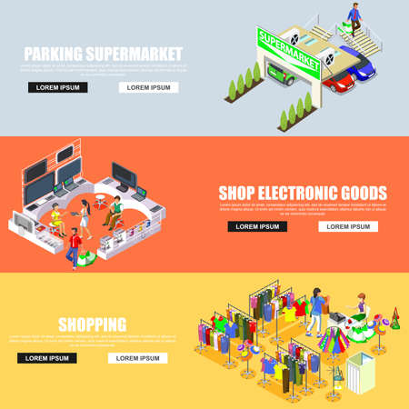 multistory: Flat banners isometric shopping mall concept vector. Store, parking, shop electronics goods, entertainment room for children, walking shoppers, sale, retail, multi-use center.