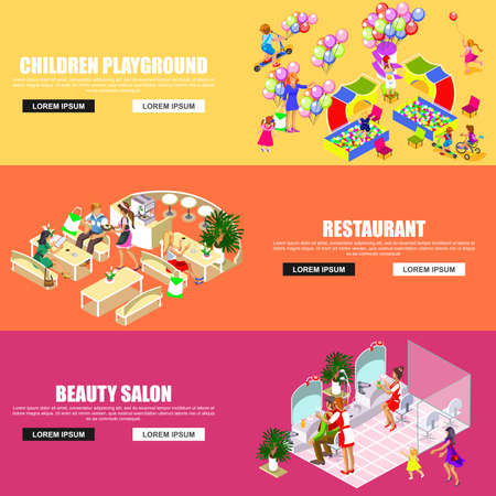 multistory: Flat banners isometric shopping mall concept vector. Store, beauty salon, entertainment room for children, restaurant and cafe, walking shoppers, sale, retail, multi-use center.