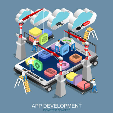 Isometric flat concept app development. Cranes placing building blocks mobile application icons to smartphone. Mobile technology operating system creative process visualization. Vector illustration. Vectores