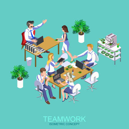Isometric flat office workers collaboration. Co working people discussing ideas. Vector illustration of business meeting, teamwork, collaboration and discussion, conference table, brainstorm.