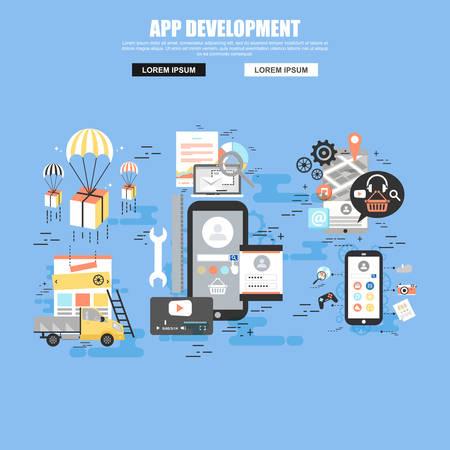 programing: Flat concept of application development with smartphone, tools, programing code. Illustration