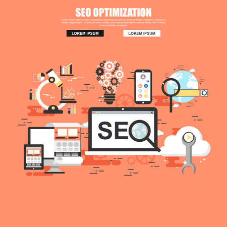 SEO conceptual web banner. Flat style. For search engine optimization and web developing company landing page.